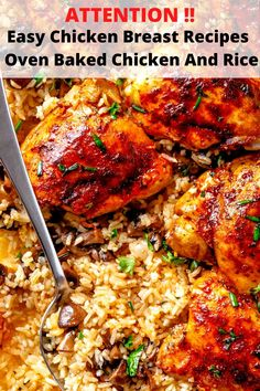 easy dinner ideas | Easy Chicken Breast Recipes : Oven Baked Chicken And Rice Easy Oven Baked Chicken, Best Healthy Dinner Recipes, Breast Recipe, Dinner Ideas, Easy Meals, Rice, Stuffed Peppers, Ethnic Recipes, Quick Easy Meals
