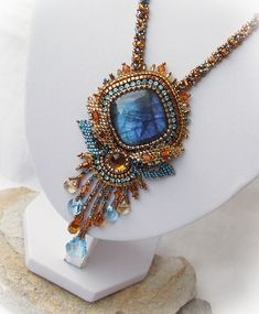 love the blue and amber shades together in this beaded necklace, labradorite pendant, bead embroidery