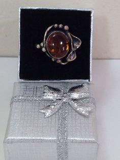 Vintage Natural Amber Sterling Silver Ring Size 6.5