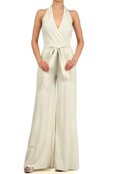 Cute color and style For lovers of sexy Jumpsuits ! Mock Wrap Textured Sleeveless Wide Leg Jumpsuit (FREE SHIPPING)