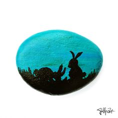 Rabbits Easter bunny blue teal nature silhouette by JuffyArt