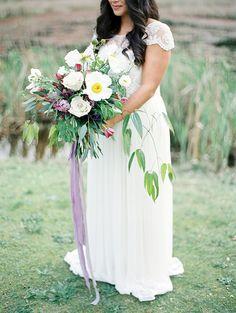 Lush Botanical Bouquet   Christie Graham Photography   Raw Gemstone Wedding Shoot