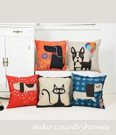 $15   Throw Pillow Cover   Lovely Pets Series   Cats   Kitty   Dogs   45x45cm, 17x17   Pillow Cusion Covers   French CountryHome Décor Pillows