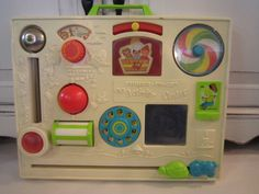 Favourite toy of the minute - dad's original fisher price activity centre. Not quite an ipad but still fun!