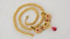 Beadwoven Necklace in oriental style with Swarovski by Renarta