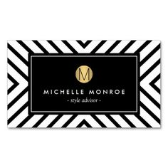 Customizable Retro Mod Black and White Pattern Gold Monogram Business Card Template - for stylists, fashion boutiques, salons, designers and more.