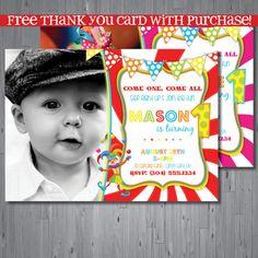 circus Birthday Invitation, first birthday party invitation, carnival party, party invitation printable, FREE thank you card on Etsy, $15.00