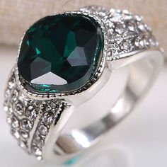 Fashion Jewelry 925 Silver 3.55CT Emerald Women Wedding Man Ring Size 6-10