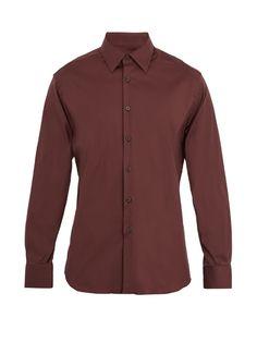 Prada Single-cuff stretch cotton-blend shirt