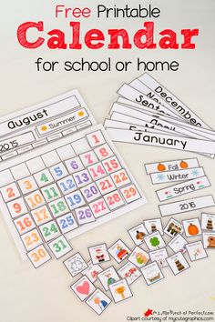 Cute Free Printable Calendar for Home of School with Kids -