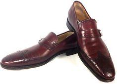 SALVATORE FERRAGAMO Mens BORDEAUX Leather TRAMEZZA Wingtip Loafers Shoes SIZE 12