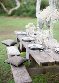 Picnic table idea for an outdoor wedding reception! Picnic Table Wedding, Wedding Reception Seating, Rustic Wedding, Picnic Tables, Reception Ideas, Picnic Weddings, Forest Wedding, Woodland Wedding, Chic Wedding