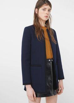 Trim cotton jacket -  Women   MANGO USA