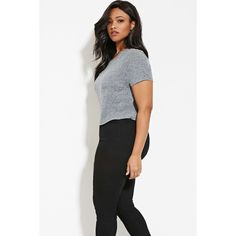 Forever 21 Plus Women's  Plus Size Slub Knit Tee (365 DOP) ❤ liked on Polyvore featuring plus size women's fashion, plus size clothing, plus size tops, plus size t-shirts, white t shirt, plus size white tops, forever 21, plus size white t shirt and forever 21 tops