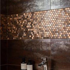 Although not suitable for kitchens or bathrooms, these stunning mosaics could look amazing in other rooms (or even outside in covered areas). Bronze Kitchen, Bronze Bathroom, Kitchen Fixtures, Kitchen Backsplash, Copper House, Wc Design, Pooja Room Door Design, Bathroom Interior Design, Bathrooms