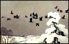 Wyeth, Crows in Winter Displayed at the Brandywine River Museum in Pennsylvania, iconic American artist N. Wyeth captures the vast serenity of a midwestern winter The Crow, Jamie Wyeth, Andrew Wyeth, Crow Art, Bird Art, Art And Illustration, Nc Wyeth, Crows Ravens, Rabe