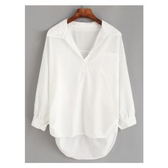 White Lapel High Low Pocket Blouse (€8,26) ❤ liked on Polyvore featuring tops, blouses, white top, white blouse, pocket tops and pocket blouse