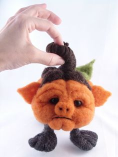 CLEARANCE  Needle Felted Oneofakind Pumpkin Jack O by McBrideHouse
