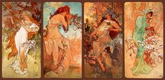 Alphonse Mucha - Seasons: This was in my home as a small child & will always remind me of my mother