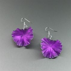 Violet Anodized Aluminum Lily Pad Earrings - Makes a Cool 10th Wedding Anniversary Gift! - Handmade Jewelry by John S Brana