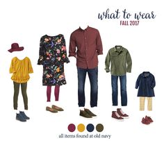 What to wear for fall family photos! Grab a Pumpkin Spice latte and check out th… What to wear for fall family photos! Grab a Pumpkin Spice latte and check out these fun looks for the whole family. Perfect for photos with Miss Freddy! Fall Family Picture Outfits, Family Picture Colors, Family Photos What To Wear, Fall Family Pictures, Family Picture Poses, Family Photo Sessions, Family Outfits, Family Posing, Family Pics