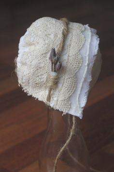 Organic flower and lace newborn bonnet by WildDragonflyDesigns, $27.00