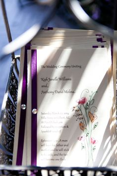 Purple ribbon with rhinestones and water color flower detials | villasiena.cc