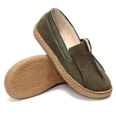 Stitching Pure Color Slip On Lazy Casual Suede Shoes