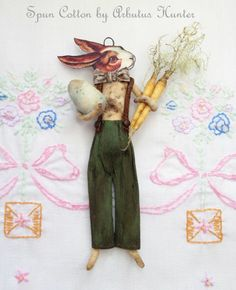 Spun Cotton Primitive Easter Bunny Ornament by Arbutus Hunter Easter Tree, Easter Bunny, Pipe Cleaners, Paperclay, Vintage Easter, Holiday Ornaments, Pom Poms, Spring Flowers, Spinning