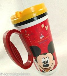 Disney Parks Mickey Travel Mug Lid Celebrate Today! free Refill 2009 Coca Cola
