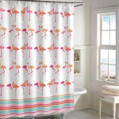 Flamingo Shower Curtain in Pink/White - BedBathandBeyond.com
