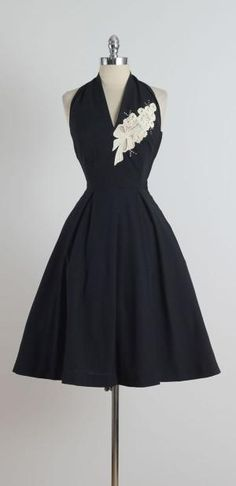 ce4c1c63dc4 1950s Reich Originals Black Halter Dress by juanita Vintage Dior