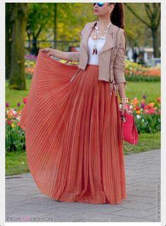 Peach Pleated Maxi skirt love