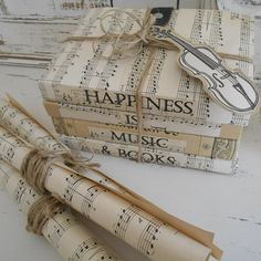 Music Book Bundle & Three Music Scrolls with 'Happiness is Music and Books' Quote. Ideal Library/Drawing Room Decoration. Music Lovers Gift.