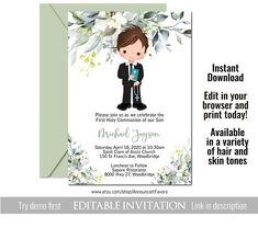 Boys First Communion Invitations, Holy Communion Invitation Template by Announce It!