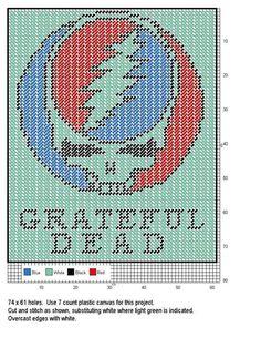 Greatful Dead logo x-stitch Pearler Bead Patterns, Bead Loom Patterns, Macrame Patterns, Plastic Canvas Crafts, Plastic Canvas Patterns, Cross Stitch Designs, Cross Stitch Patterns, Grateful Dead Bears, Plastic Board