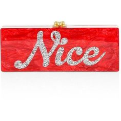 Edie Parker Flavia Naughty & Nice Acrylic Clutch (4.200 BRL) ❤ liked on Polyvore featuring bags, handbags, clutches, purse clutches, kiss lock purse, man bag, red clutches and red evening bag