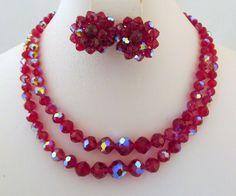 Deep Fuchsia Laguna Aurora Borealis Crystals Necklace Earrings