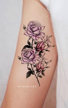 Beautiful Purple Watercolor Flower Arm Tattoo Ideas for Women - Floral Colorful Bicep Tat - ideas púrpura del tatuaje del brazo de la flor de la acuarela para las mujeres - www.MyBodiArt.com