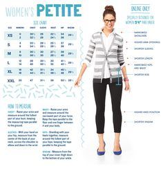 """Petite Size Guide YES! I'm 5'3"""" and finding clothes that fit perfectly is extremely difficult lol"""
