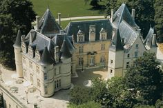 Chateau de Mirambeau aerial view--Located in one of the best known areas of south west France, the Charente-Maritime area, the grand Chateau de Mirambeau, a member of Relais & Chateaux, stands proudly in between the famous cities of Cognac and Bordeaux.