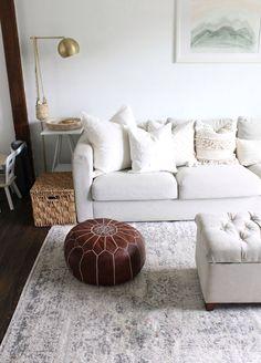 Summer Decor Home Tour - christina Ikea Living Room, Living Room Sectional, Living Rooms, Ikea Vimle Sofa, Small Downstairs Toilet, Tufted Storage Bench, Mulberry Home, Spring Home Decor, Living Room