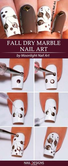 10 Super Easy Fall Nail Ideas You Should Try This Season Flores More from my site Super Easy Fall Nail Designs for Short Nails 182 fall nail art ideas and autumn color combos to try on this season page 41 Fall Nail Art, Autumn Nails, Fall Nail Colors, Nail Art Diy, Marble Nail Designs, Marble Nail Art, Fall Nail Designs, Water Nails, Dry Nails