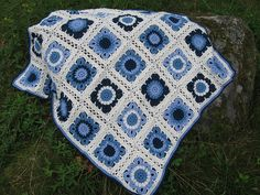 Blanket crocheted in squares: free pattern