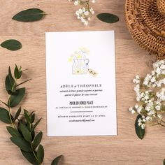 Carton d'invitation mariage Instant fleuri by Tomoë pour www.rosemood.fr #rosemood #atelierrosemood #wedding #invitation #weddinginvitation