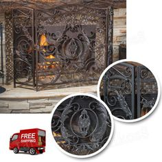 Fireplace-Front-Screen-3-Panel-Baroque-Iron-Mesh-Screen-Sparks-Ashes-Design