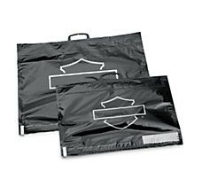 Large Shrink Sacks 	Large sized bags Load the bag, seal it, roll it to evacuate the air and store your soft goods in a fraction of the space that used to fill your Tour-Pak®, Saddlebag or Premium Luggage bag Designed to handle several weeks on the road