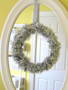 Embroidery Hoop Tinsel Wreath...and other cute tips for dolling your bathrooms up for the holidays!