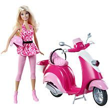 Barbie KidPicks Doll and Scooter. Barbie's the talk of the town on her brilliant pink Scooter! This playset includes one Barbie doll complete with pink dress and crash helmet. An ideal gift for kids aged three and over. Barbie Style, Barbie Girl Doll, Mattel Barbie, Pink Doll, Vespa Rose, Pink Vespa, Pink Bike, Toys R Us, Kids Toys