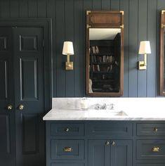 The 5 Minute Rule For Bathroom Dark Vanity Light Fixtures 209 - Pecansthomedecor Shiplap Bathroom, Bathroom Red, Downstairs Bathroom, Bathroom Ideas, Bathroom Inspo, Bathroom Vanities, Dark Blue Bathrooms, Marble Bathrooms, Master Bathrooms